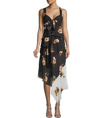 natalia floral silk ruffle dress