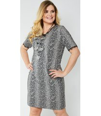 jersey jurk sara lindholm grijs::zwart