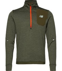 impact run grid back half zip t-shirts long-sleeved groen new balance
