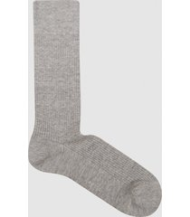 reiss davis - linen cotton blend socks in soft grey, mens