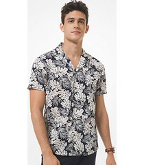mk camicia slim-fit a maniche corte in cotone motivo tropicale - canvas beige - michael kors
