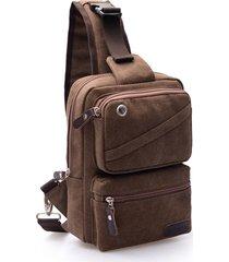 sacchetto di cassa di grande capacità borsa multifunzionale sacchetto traspirante della borsa a tracolla della tela di canapa per gli uomini