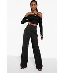 geplooide geweven broek zonder taille band, black