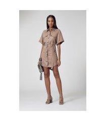 vestido curto de liocel militar camel maple - 36