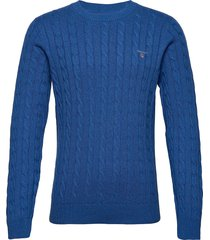 cotton cable crew gebreide trui met ronde kraag blauw gant
