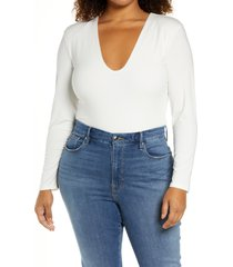 good american good body power shoulder thong bodysuit, size 5 in ivory at nordstrom