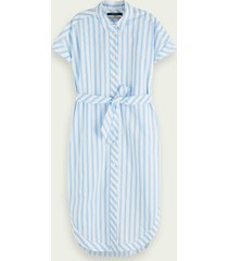 scotch & soda 100% cotton short sleeve belted shirt dress