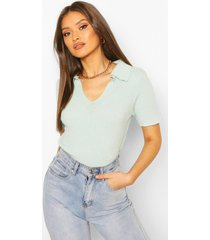 rib knit polo sweater, mint