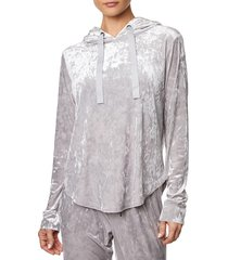 betsey johnson women's crushed velvet scallop hem hoodie - quick silver - size s