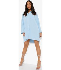 petite linnen look mini blouse jurk, light blue