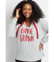 maurices plus size womens red homegrown waffle knit hoodie