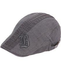 uomo vintage berretto in cotone ricamato con lettere a righe regolabile con visiera berretto da newsboy cabbie hat