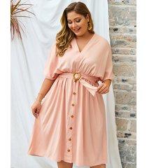 plus talla rosa cuello en v cinturón diseño medias mangas vestido