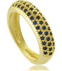 anel com mini zircônias azuis cravejadas 3rs semijoias dourado
