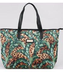 bolsa feminina água de coco shopper grande estampada bananeira animal print onça caramelo