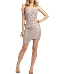 mac duggal women's draped shimmer open-back dress - rose pink - size 10