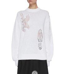 mesh crochet cut-out cotton sweater