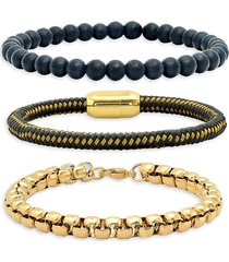 anthony jacobs men's 3-piece 18k gold-plated stainless steel, black lava & leather bracelet set