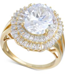 cubic zirconia baguette halo statement ring in gold-plated sterling silver