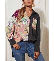 camicetta patchwork con colletto rovesciato manica lunga stampata floreale