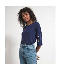tshirt em malha sustentavel com botoes manga | marfinno | azul | g