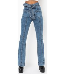 akira mix and match high waisted belted flare jeans