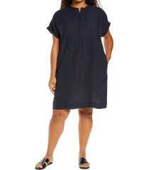 plus size women's eileen fisher check front button dress