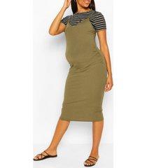 maternity stripe tshirt 2 in 1 bodycon dress, khaki