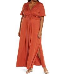 plus size women's kiyonna desert rain maxi dress, size 1x - brown