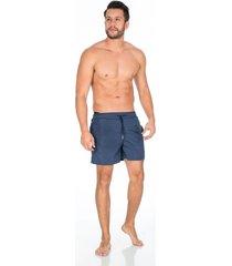 pantaloneta de baño azul para hombre con bolsillo trasero y solapa