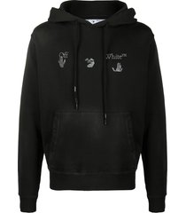 off-white logo-print distressed-effect hoodie - black