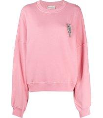 alexandre vauthier crystal-embellished sweatshirt - pink