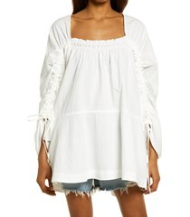 free people brynn puff long sleeve tunic dress, size small in white at nordstrom