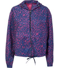 jaqueta corta-vento com capuz oxer ajustável - feminina - azul esc/rosa