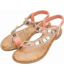 sandalias planas de rayas a cuadros para mujer-rosa