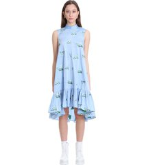 red valentino dress in cyan polyester