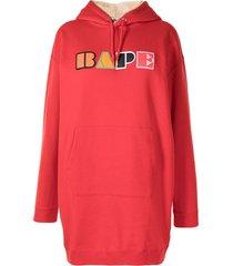a bathing ape® logo-patch hoodie dress - red