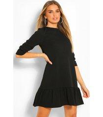 loshangende jurk met losvallende zoom en driekwartsmouwen, zwart