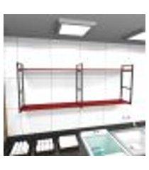 prateleira industrial lavanderia aço cor preto 180x30x68cm cxlxa cor mdf vermelho modelo ind36vrlav