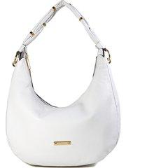 bolsa branca hobo em couro feminina luz da lua casual