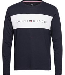 cn ls tee logo flag t-shirts long-sleeved blå tommy hilfiger