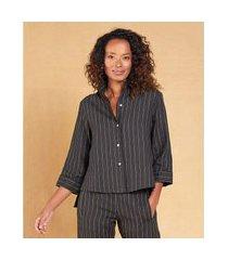 camisa listrada cropped linho cor: preto - tamanho: pp