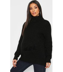 maternity soft knit roll neck sweater, black