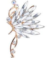 donna 1pz di orecchino di lusso a forma di farfalla e piuma in cristallo e strass orecchini a clip a chiodo regalo