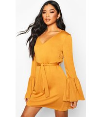 flared sleeve belted mini dress, mustard
