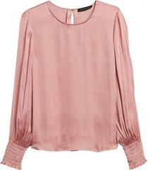 blusa cuff satin rosa banana republic