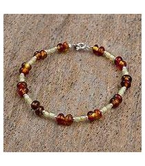 amber beaded bracelet, 'silver and spice' (mexico)