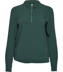 travel crepe ls zip detail top blouse lange mouwen groen calvin klein