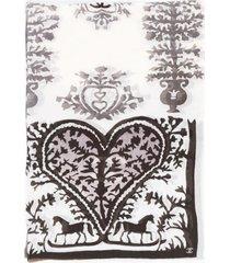 chanel cc cashmere printed shawl gray/multicolor sz: