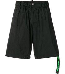 dsquared2 flared track shorts - black